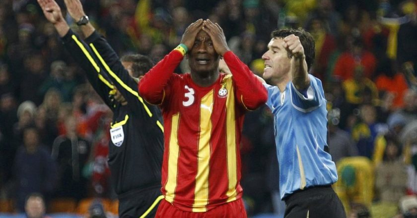 Asamoah Gyan Left Dejected after penalty miss