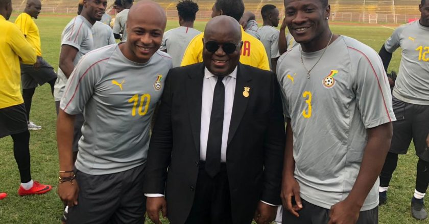 Nana Akuffo Addo paid a visit to the Black stars camp