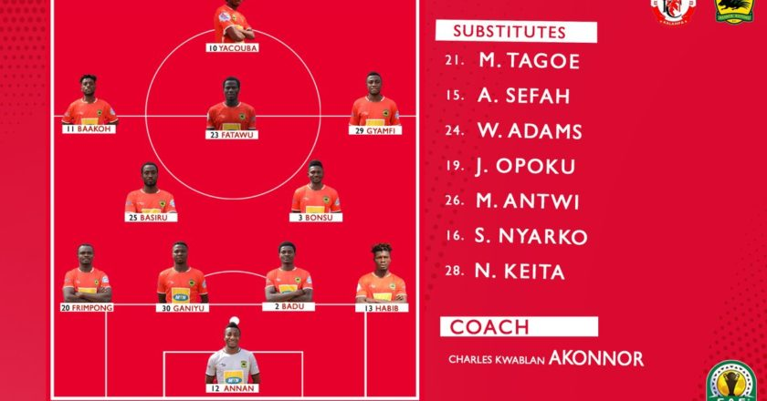 Asante Kotoko have revealed their starting lineup to face Nkana FC in their CAF Confederation Cup fixture scheduled for this afternoon in Kitwe, Zambia.