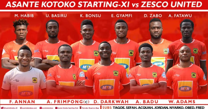 Kotoko Starting lineup against Zesco United: Dany Zabo handed debut