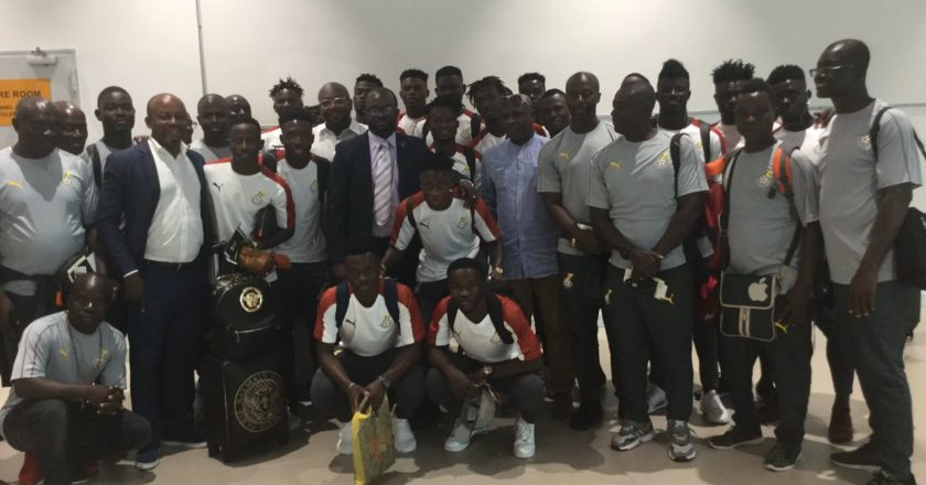 GFA Kurt Okraku meet Black Meteors team before departure to Egypt